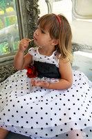 """Детское платье """"Красотка"""" Белое в черный горох KD-234"""