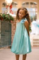 Детское платье на Одно плечо с Цветами (Бирюзовое) KD-289