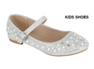 Нарядные туфли для девочки с жемчугом и стразами Серебряные 79K