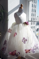 Детское платье с Сиреневыми Лепестками роз KD-160