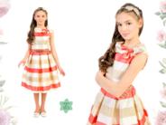 """Нарядное платье для девочки """"Кристалл"""" Коралловое 1803"""