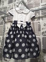 """Платье для новорожденной девочки """"Горошек"""" Синее 113"""