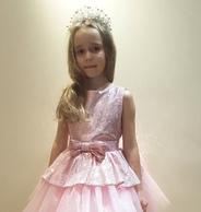 """Нарядное платье для девочки с баской """"Сеньорита"""" Розовое 015"""