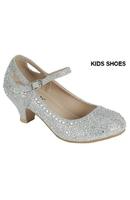 Нарядные туфли для девочки на каблуке Серебряные KF-JEMMA-02K