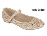 Нарядные туфли для девочки с жемчугом и стразами Золотые 79K