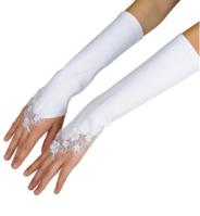 Длинные перчатки для девочки через палец  Молочные GL-F
