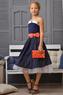 Нарядное платье для девочки Синее в горох 508