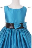 """Нарядное платье для девочки """"Монтана"""" Голубое с черным поясом 6337 KK"""