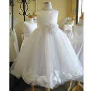 Детское платье с Белыми Лепестками Роз (Белое) KD-160
