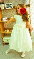 Детское платье с Французским шитьем (Молочное) KD-318