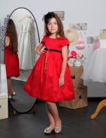 Детское платье Шелковое С Бархатным Поясом (Красное) KD-274