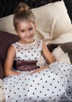 """Детское платье """"Красотка"""" Молочное в коричневый горох KD-234"""