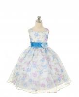 """Платье для девочки """"Цветочное"""" голубое KD-199B-BLU"""