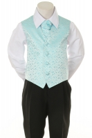 Детская жилетка с галстуком для мальчика Бирюзовая V-002