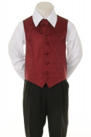 Детская жилетка с галстуком для мальчика Бордовая V-002
