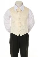 Детская жилетка с галстуком для мальчика Молочная V-002