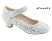 Нарядные туфли для девочки на каблуке Серебряные 11К