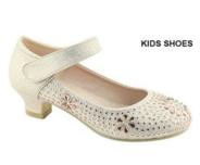 Нарядные туфли для девочки на каблуке Шампань 11К