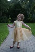 Нарядное платье для девочки Карнавальная бабочка Золотое 1207