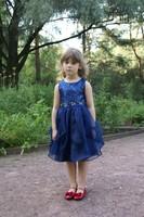 """Нарядное платье для девочки """"Карнавальная бабочка"""" Темно синее 1207"""