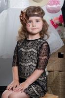 """Нарядное платье для девочки """"Твист"""" Черное 9370"""