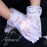Нарядные Кружевные перчатки для девочки Белые M 388