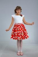 """Платье для девочки """"Герда"""" Красное 0747"""
