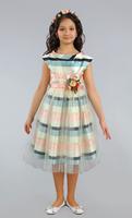 """Нарядное платье для девочки с вуалью """"Селин"""" Молочное 3975"""