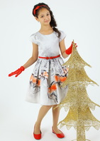 """Нарядное платье для девочки с перчатками """"Снегири"""" Серое 6675"""