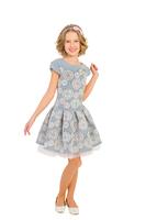 """Нарядное платье для девочки с ободком """"Агата"""" Серое 1820"""