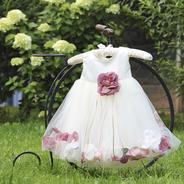 Платье для новорожденной девочки с Чайными Лепестками Роз KD-160B
