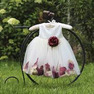 Платье для новорожденной девочки с Бордовыми Лепестками Роз KD-160B