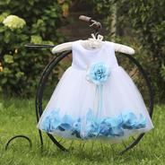 Платье для новорожденной девочки с Голубыми Лепестками Роз KD-160B