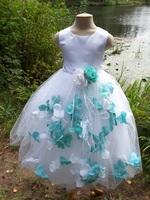 Детское платье с Разноцветными Лепестками Роз (Бирюзовый/Белый) KD-160