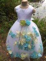 Детское платье с Разноцветными Лепестками Роз (Бирюзовый/Зеленый) KD-160