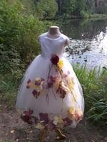 Детское платье с Разноцветными Лепестками Роз (Желтый/Бордовый) KD-160