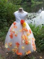 Детское платье с Разноцветными Лепестками Роз (Желтый/Оранжевый) KD-160