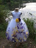 Детское платье с Разноцветными Лепестками Роз (Темно-Лавандовый/Желтый) KD-160