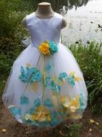 Детское платье с Разноцветными Лепестками Роз (Бирюзовый/Желтый) KD-160