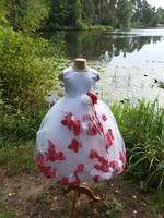 Детское платье с Разноцветными Лепестками Роз (Красный/Белый) KD-160