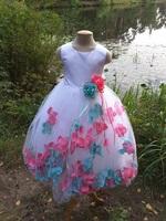Детское платье с Разноцветными Лепестками Роз (Бирюзовый/Малиновый) KD-160