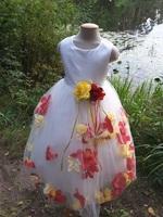 Детское платье с Разноцветными Лепестками Роз (Красный/Желтый) KD-160