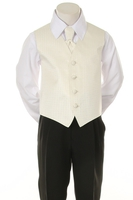 """Детская жилетка с галстуком для мальчика """"Точка"""" Молочная V-001"""