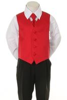 """Детская жилетка с галстуком для мальчика """"Точка"""" Красная V-001"""