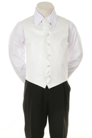 """Детская жилетка с галстуком для мальчика """"Точка"""" Белая V-001"""
