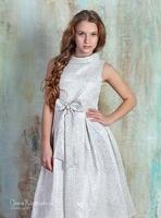 Нарядное платье для девочки Хепбёрн Серебряное 522
