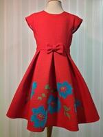 Нарядное платье для девочки с цветами Вероника Красное 2112