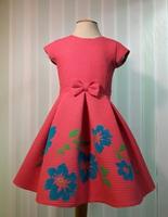 """Платье для девочки с цветами """"Вероника"""" Коралловое 2112"""