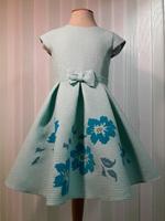 """Платье для девочки с цветами """"Вероника"""" Бирюзовое 2112"""